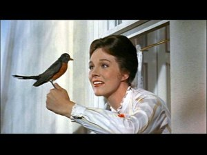 Mary Poppins communing with birds